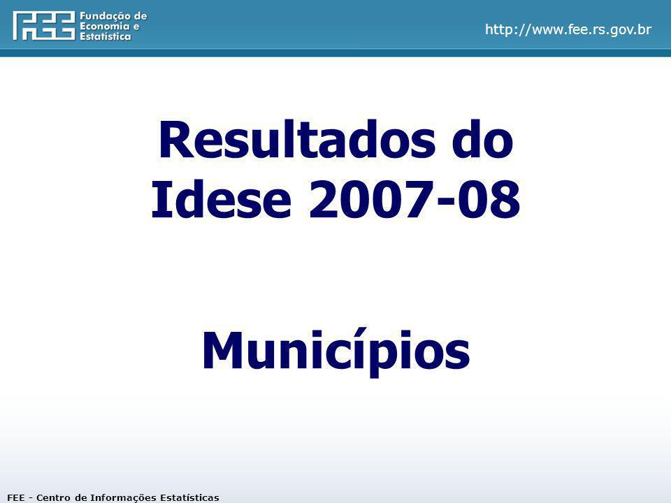 http://www.fee.rs.gov.br Resultados do Idese 2007-08 Municípios FEE - Centro de Informações Estatísticas