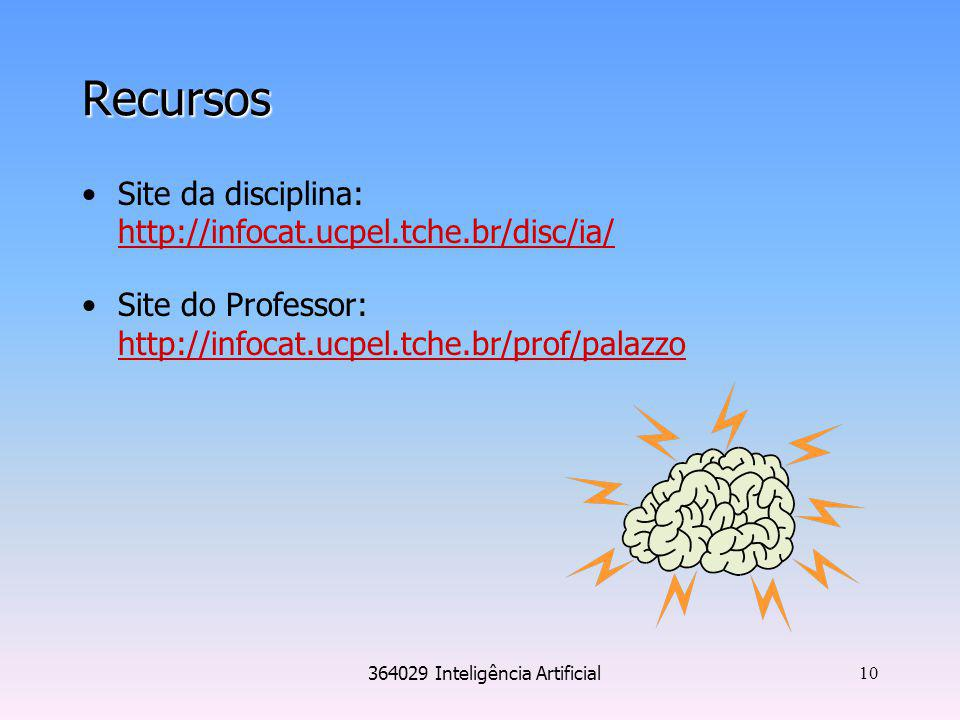 364029 Inteligência Artificial 10 Recursos Site da disciplina: http://infocat.ucpel.tche.br/disc/ia/ http://infocat.ucpel.tche.br/disc/ia/ Site do Pro
