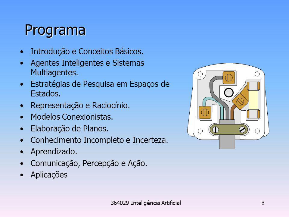 364029 Inteligência Artificial 6 Programa Introdução e Conceitos Básicos. Agentes Inteligentes e Sistemas Multiagentes. Estratégias de Pesquisa em Esp
