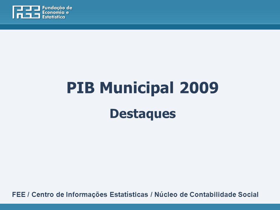 PIB Municipal 2009 Destaques FEE / Centro de Informações Estatísticas / Núcleo de Contabilidade Social
