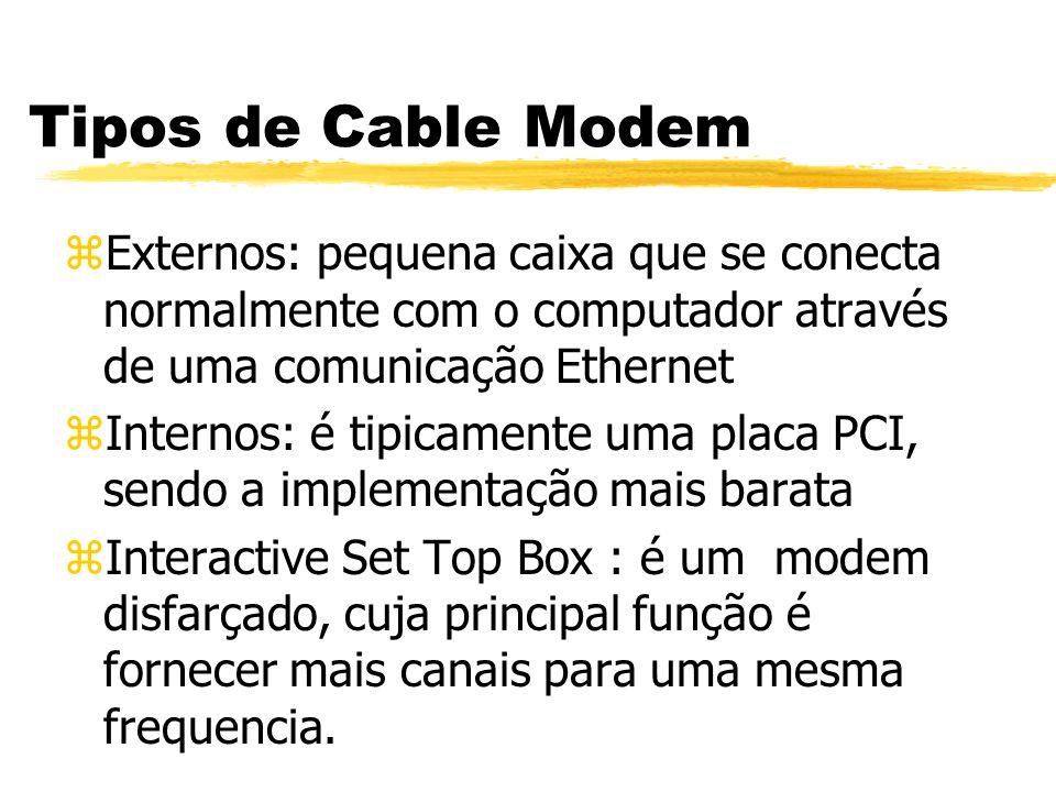Tipos de Cable Modem zExternos: pequena caixa que se conecta normalmente com o computador através de uma comunicação Ethernet zInternos: é tipicamente