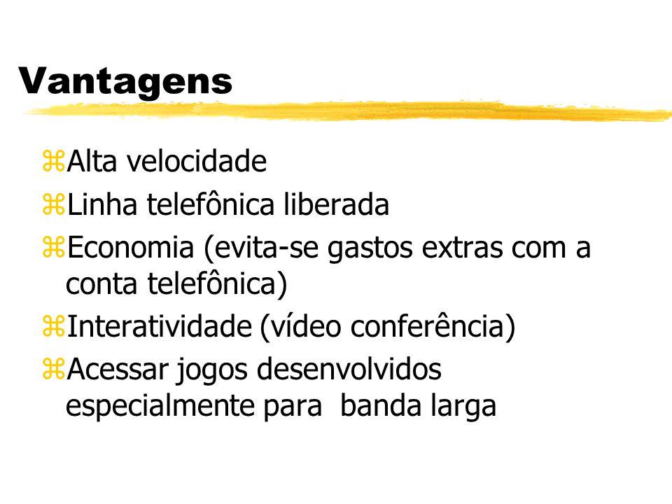 Vantagens zAlta velocidade zLinha telefônica liberada zEconomia (evita-se gastos extras com a conta telefônica) zInteratividade (vídeo conferência) zAcessar jogos desenvolvidos especialmente para banda larga