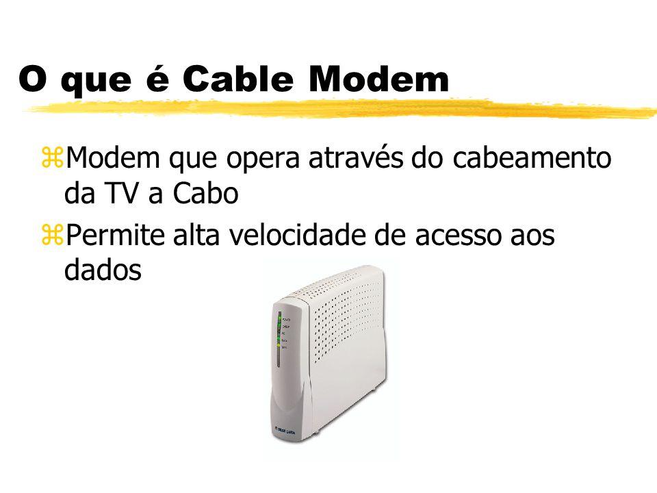 O que é Cable Modem zModem que opera através do cabeamento da TV a Cabo zPermite alta velocidade de acesso aos dados