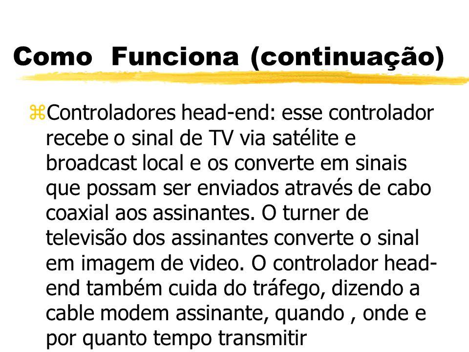 Como Funciona (continuação) zHíbrido Fibra-Coaxial: a arquitetura muito ramificada das TVs a cabo dificulta a manutenção de um sinal de boa qualidade através do cabo.