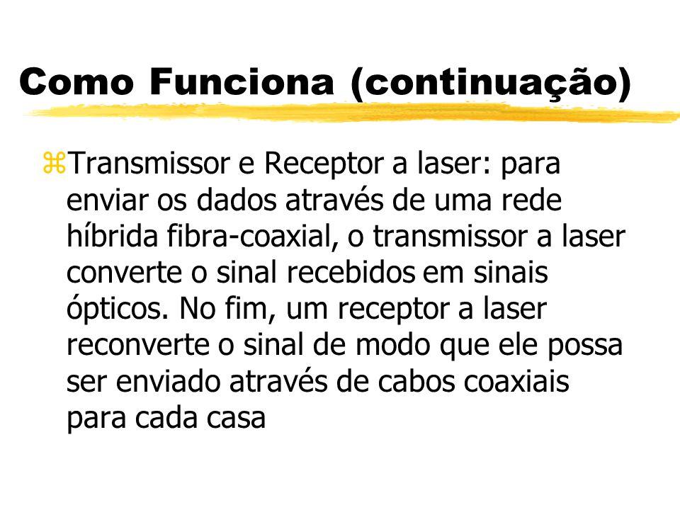 Como Funciona (continuação) zTransmissor e Receptor a laser: para enviar os dados através de uma rede híbrida fibra-coaxial, o transmissor a laser converte o sinal recebidos em sinais ópticos.