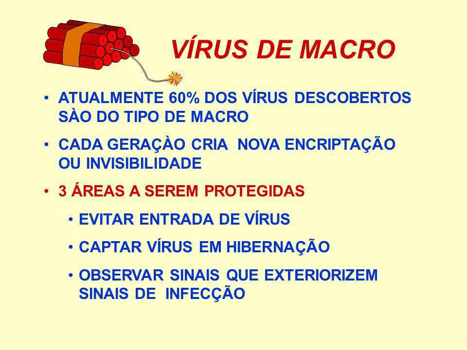 VÍRUS DE MACRO ATUALMENTE 60% DOS VÍRUS DESCOBERTOS SÀO DO TIPO DE MACRO CADA GERAÇÀO CRIA NOVA ENCRIPTAÇÃO OU INVISIBILIDADE 3 ÁREAS A SEREM PROTEGIDAS EVITAR ENTRADA DE VÍRUS CAPTAR VÍRUS EM HIBERNAÇÃO OBSERVAR SINAIS QUE EXTERIORIZEM SINAIS DE INFECÇÃO
