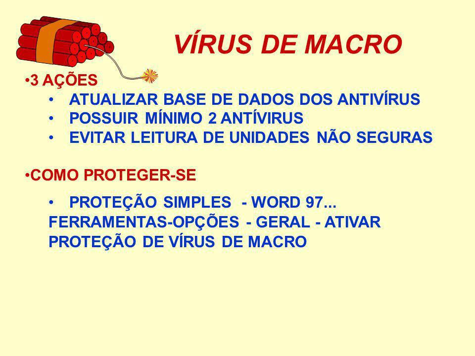 VÍRUS DE MACRO 3 AÇÕES ATUALIZAR BASE DE DADOS DOS ANTIVÍRUS POSSUIR MÍNIMO 2 ANTÍVIRUS EVITAR LEITURA DE UNIDADES NÃO SEGURAS COMO PROTEGER-SE PROTEÇÃO SIMPLES - WORD 97...
