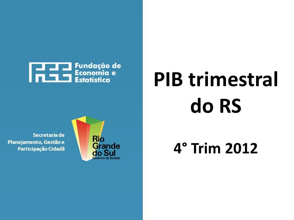 Secretaria de Planejamento, Gestão e Participação Cidadã PIB trimestral do RS 4° Trim 2012
