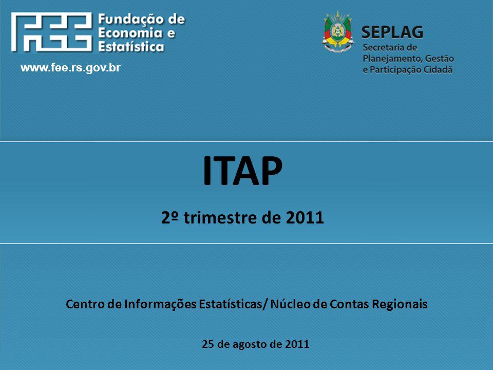 www.fee.rs.gov.br Centro de Informações Estatísticas/ Núcleo de Contas Regionais 25 de agosto de 2011 ITAP 2º trimestre de 2011