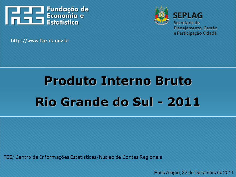 http://www.fee.rs.gov.br FEE/ Centro de Informações Estatísticas/Núcleo de Contas Regionais Porto Alegre, 22 de Dezembro de 2011 http://www.fee.rs.gov.br Produto Interno Bruto Rio Grande do Sul - 2011