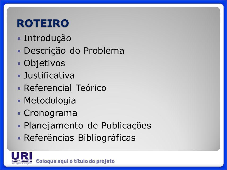 Introdução Descrição do Problema Objetivos Justificativa Referencial Teórico Metodologia Cronograma Planejamento de Publicações Referências Bibliográf