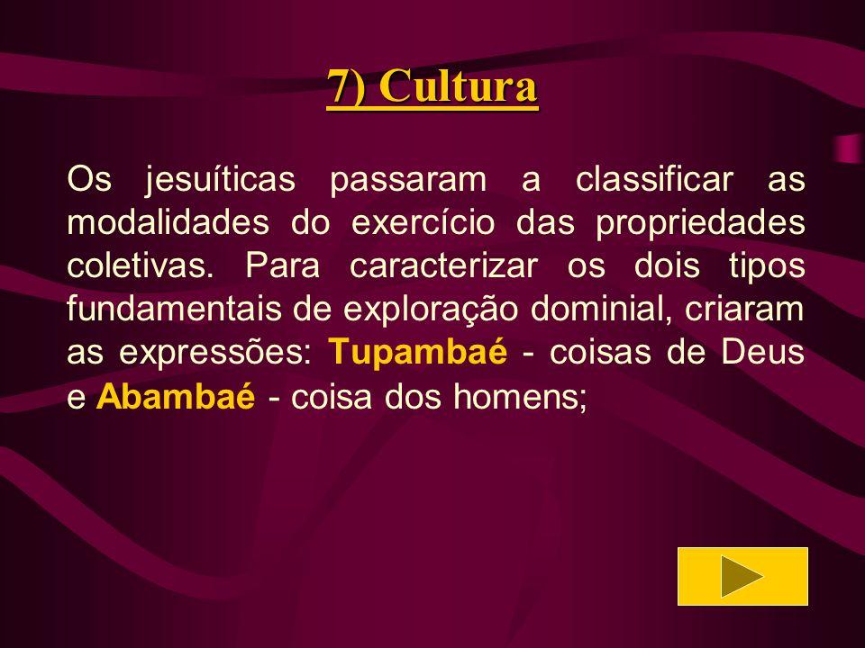 7) Cultura O Tupambaé abrangia as coisas de propriedade coletiva e usufruto comum.