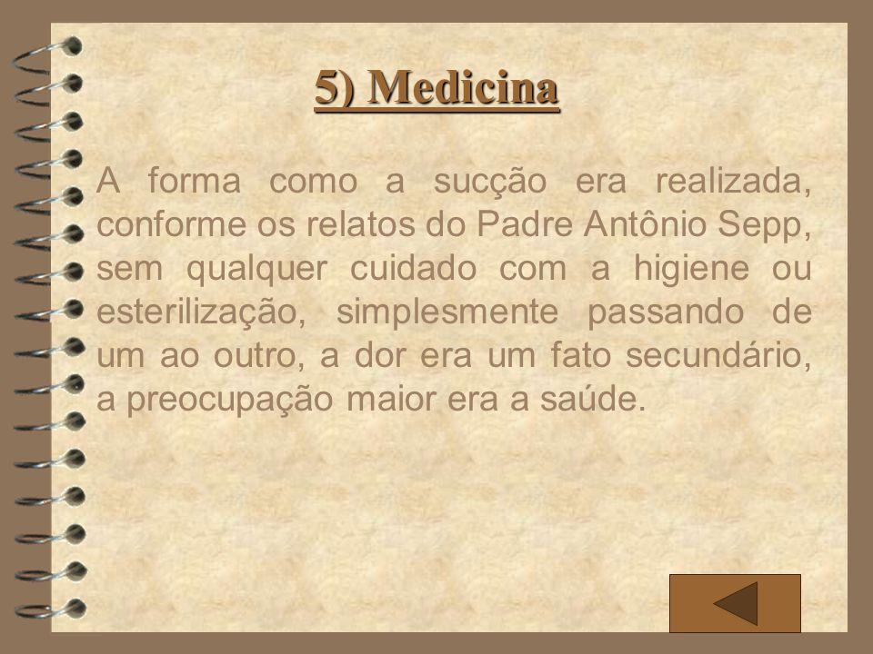 5) Medicina A forma como a sucção era realizada, conforme os relatos do Padre Antônio Sepp, sem qualquer cuidado com a higiene ou esterilização, simpl