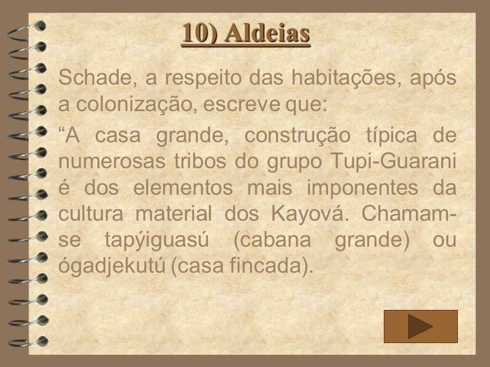 10) Aldeias Schade, a respeito das habitações, após a colonização, escreve que: A casa grande, construção típica de numerosas tribos do grupo Tupi-Gua