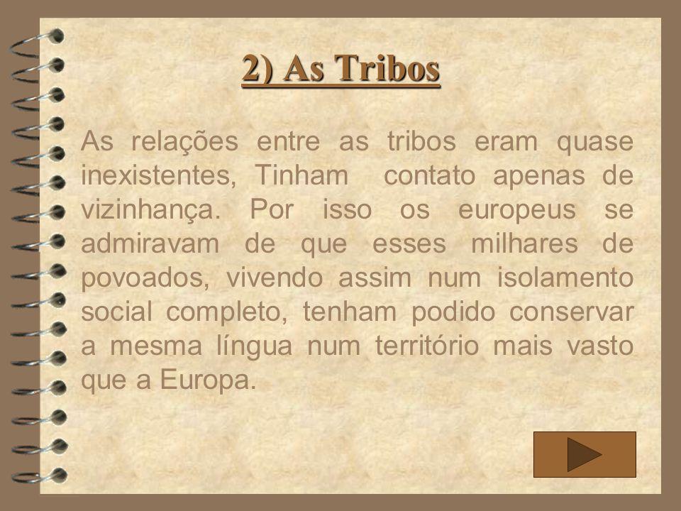 2) As Tribos As relações entre as tribos eram quase inexistentes, Tinham contato apenas de vizinhança. Por isso os europeus se admiravam de que esses