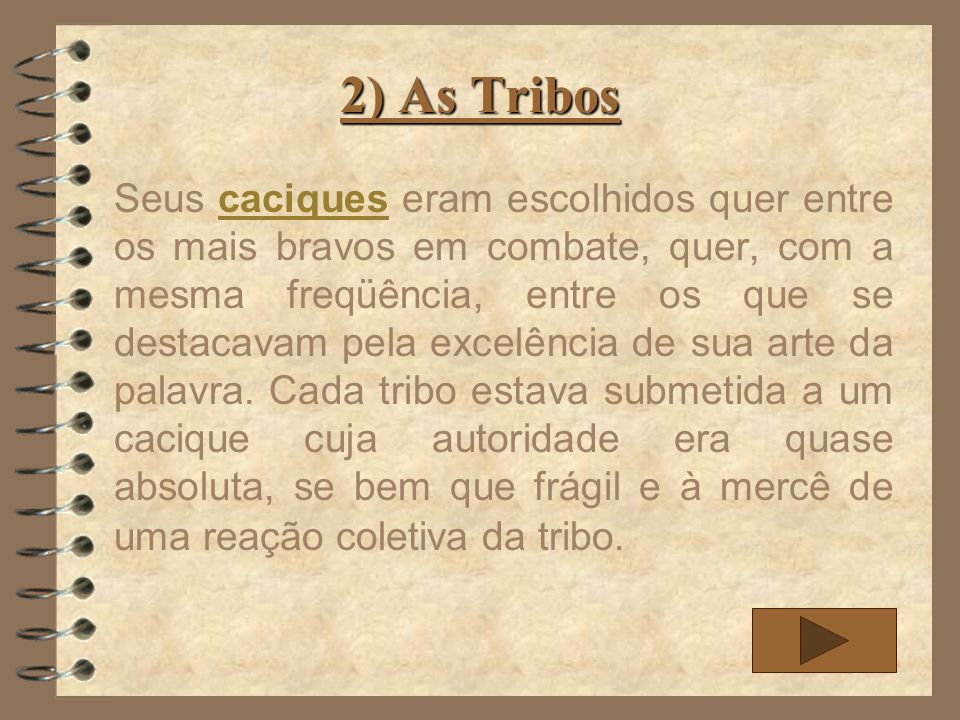 2) As Tribos Seus caciques eram escolhidos quer entre os mais bravos em combate, quer, com a mesma freqüência, entre os que se destacavam pela excelên