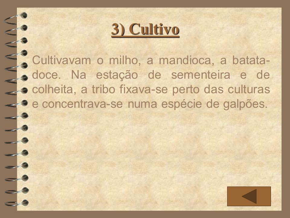 3) Cultivo Cultivavam o milho, a mandioca, a batata- doce. Na estação de sementeira e de colheita, a tribo fixava-se perto das culturas e concentrava-