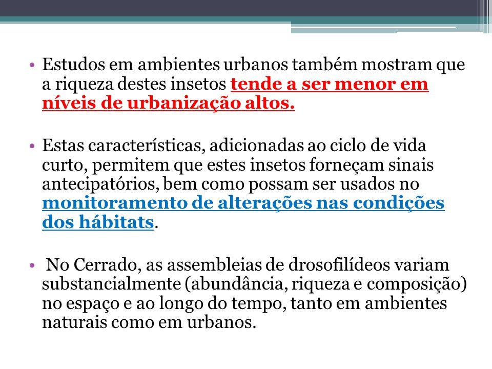 Estudos em ambientes urbanos também mostram que a riqueza destes insetos tende a ser menor em níveis de urbanização altos. Estas características, adic