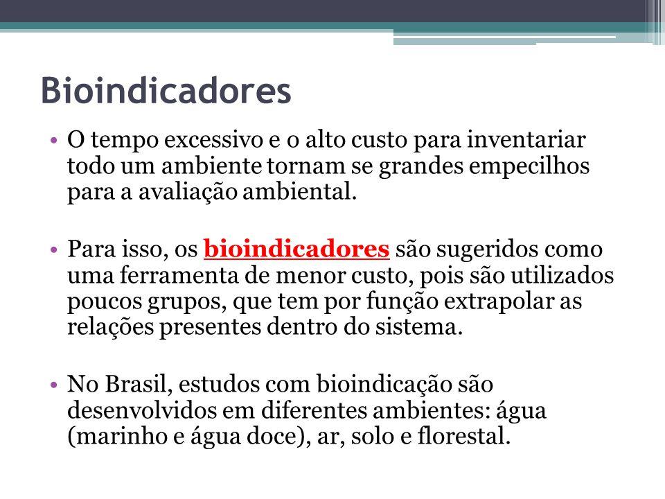 Bioindicadores O tempo excessivo e o alto custo para inventariar todo um ambiente tornam se grandes empecilhos para a avaliação ambiental. Para isso,