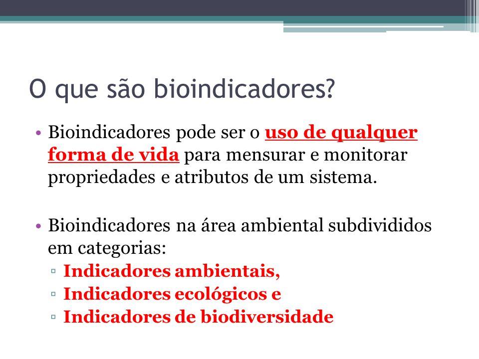 O que são bioindicadores? Bioindicadores pode ser o uso de qualquer forma de vida para mensurar e monitorar propriedades e atributos de um sistema. Bi
