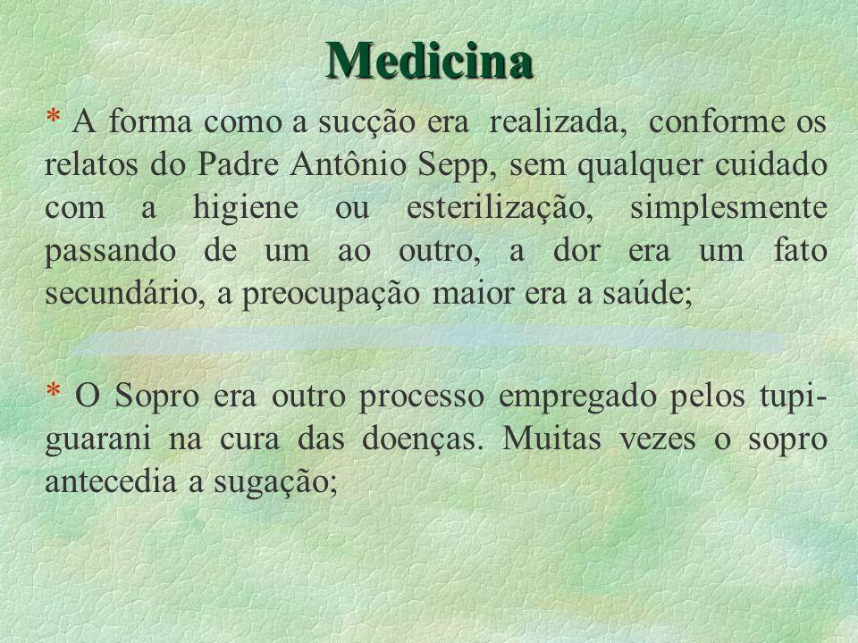 Medicina * A forma como a sucção era realizada, conforme os relatos do Padre Antônio Sepp, sem qualquer cuidado com a higiene ou esterilização, simple