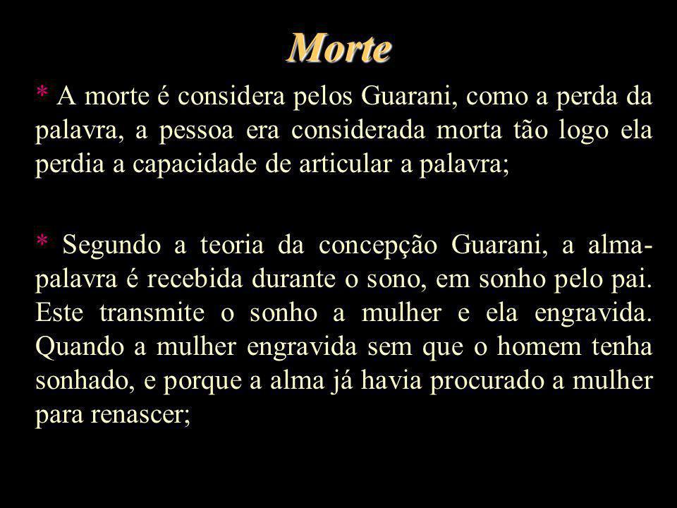 Morte * A morte é considera pelos Guarani, como a perda da palavra, a pessoa era considerada morta tão logo ela perdia a capacidade de articular a pal