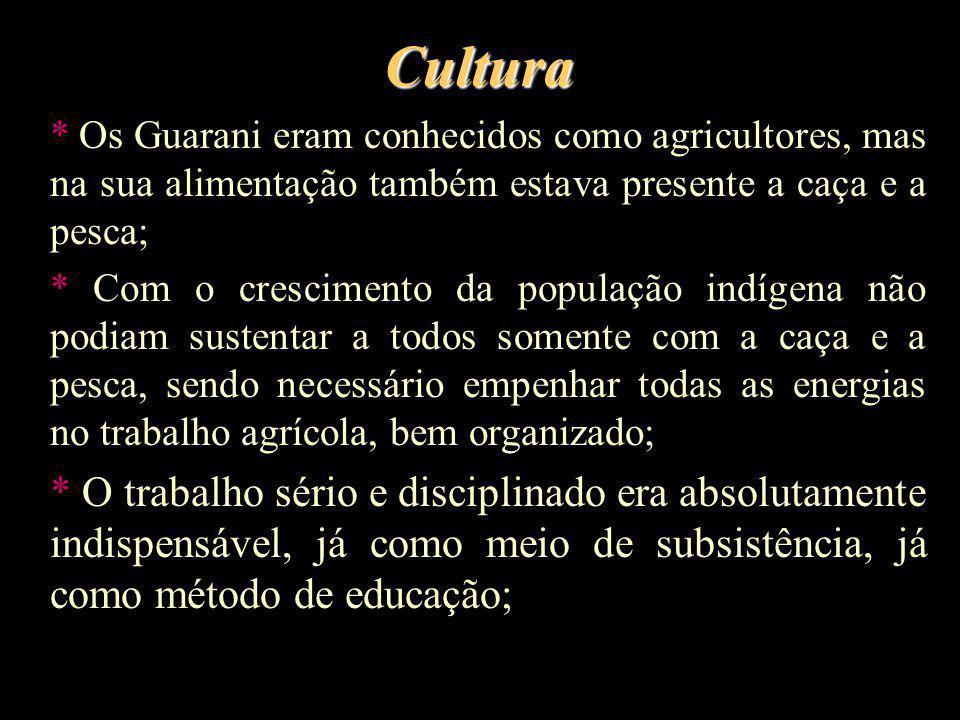 Cultura * Os Guarani eram conhecidos como agricultores, mas na sua alimentação também estava presente a caça e a pesca; * Com o crescimento da populaç