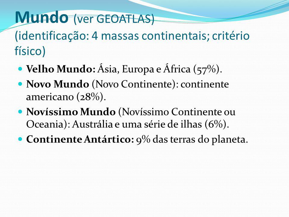 Mundo (ver GEOATLAS) (identificação: 4 massas continentais; critério físico) Velho Mundo: Ásia, Europa e África (57%). Novo Mundo (Novo Continente): c