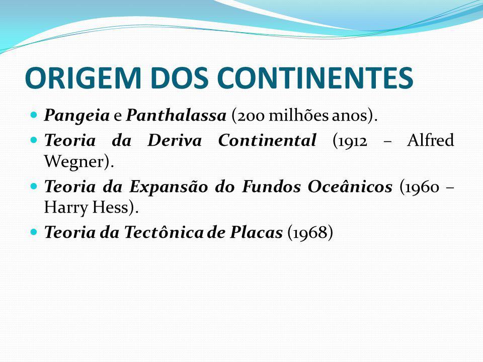 ORIGEM DOS CONTINENTES Pangeia e Panthalassa (200 milhões anos). Teoria da Deriva Continental (1912 – Alfred Wegner). Teoria da Expansão do Fundos Oce