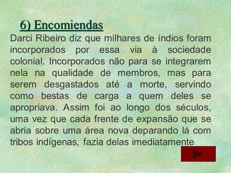 6) Encomiendas Darci Ribeiro diz que milhares de índios foram incorporados por essa via à sociedade colonial. Incorporados não para se integrarem nela