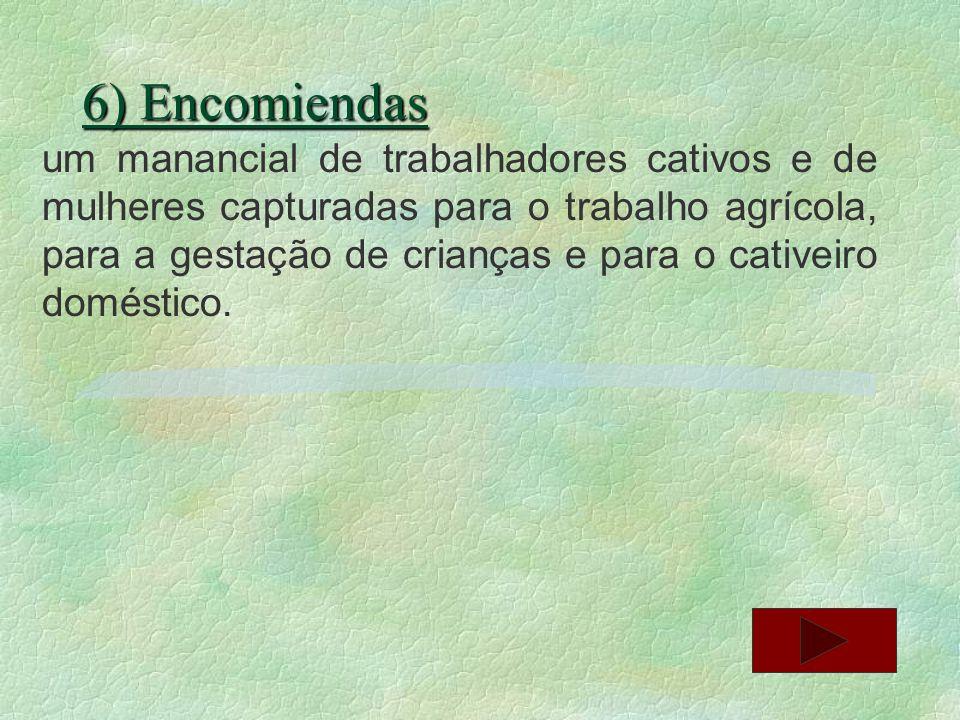 6) Encomiendas um manancial de trabalhadores cativos e de mulheres capturadas para o trabalho agrícola, para a gestação de crianças e para o cativeiro