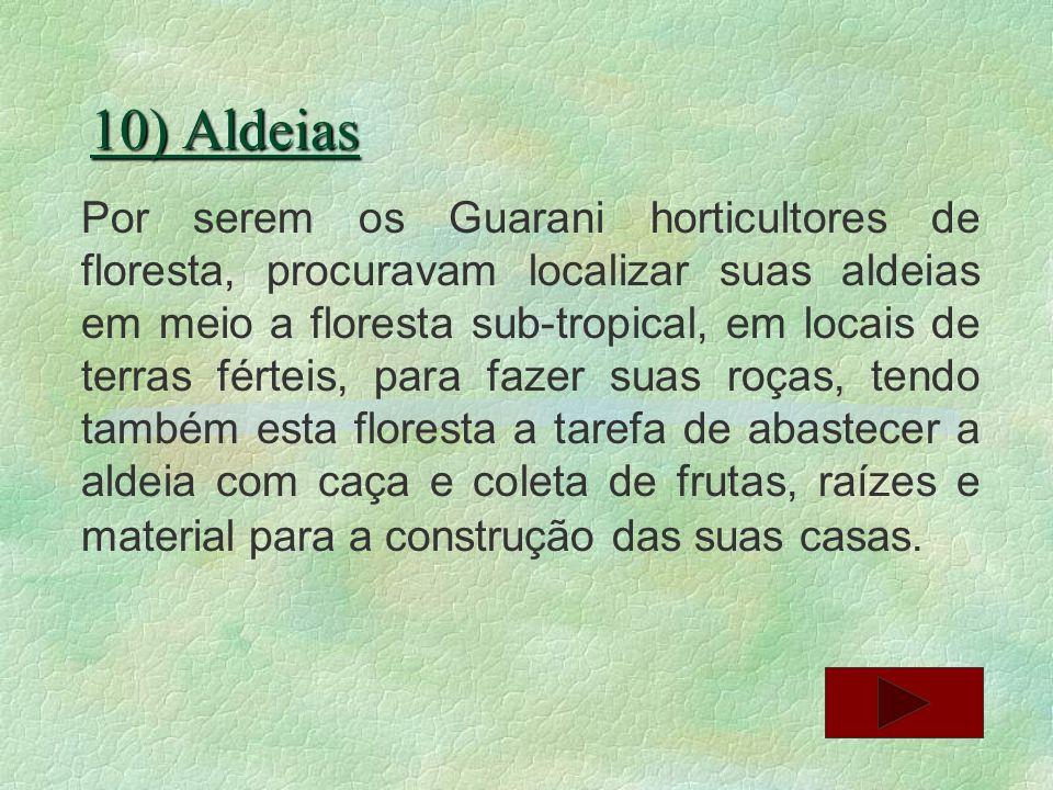 10) Aldeias Por serem os Guarani horticultores de floresta, procuravam localizar suas aldeias em meio a floresta sub-tropical, em locais de terras fér