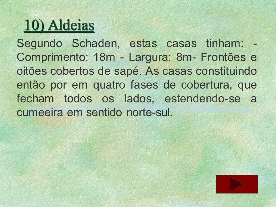 10) Aldeias Segundo Schaden, estas casas tinham: - Comprimento: 18m - Largura: 8m- Frontões e oitões cobertos de sapé. As casas constituindo então por