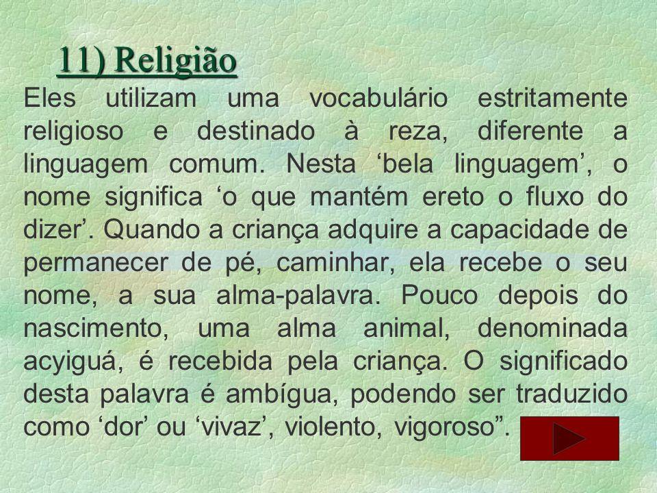 11) Religião Eles utilizam uma vocabulário estritamente religioso e destinado à reza, diferente a linguagem comum. Nesta bela linguagem, o nome signif
