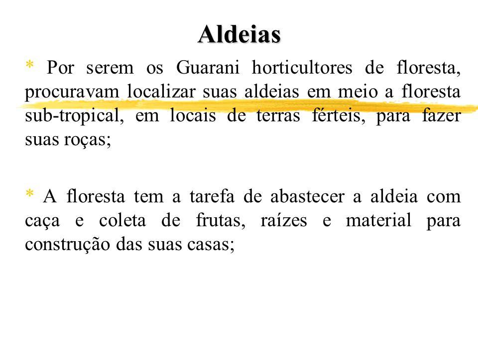 Aldeias * Por serem os Guarani horticultores de floresta, procuravam localizar suas aldeias em meio a floresta sub-tropical, em locais de terras férte
