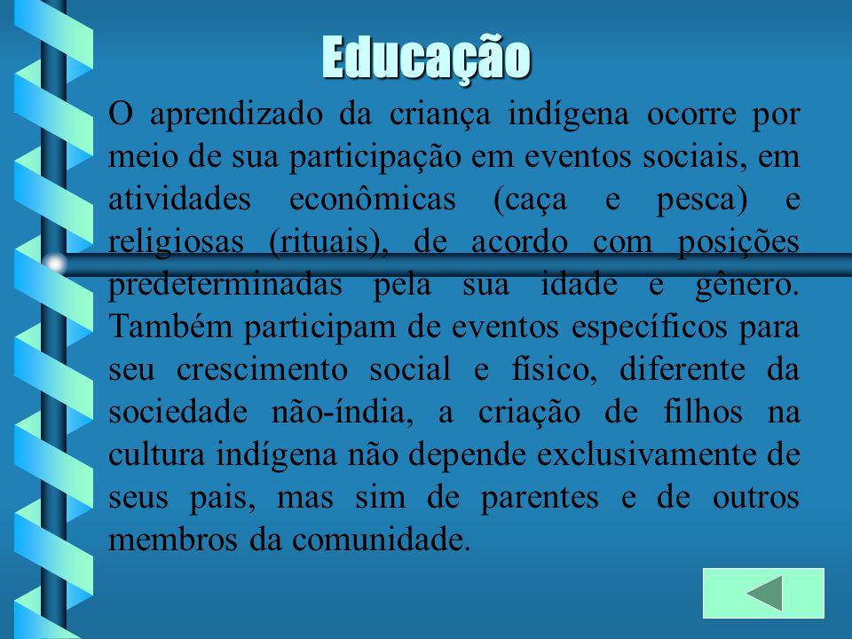 Educação O aprendizado da criança indígena ocorre por meio de sua participação em eventos sociais, em atividades econômicas (caça e pesca) e religiosas (rituais), de acordo com posições predeterminadas pela sua idade e gênero.