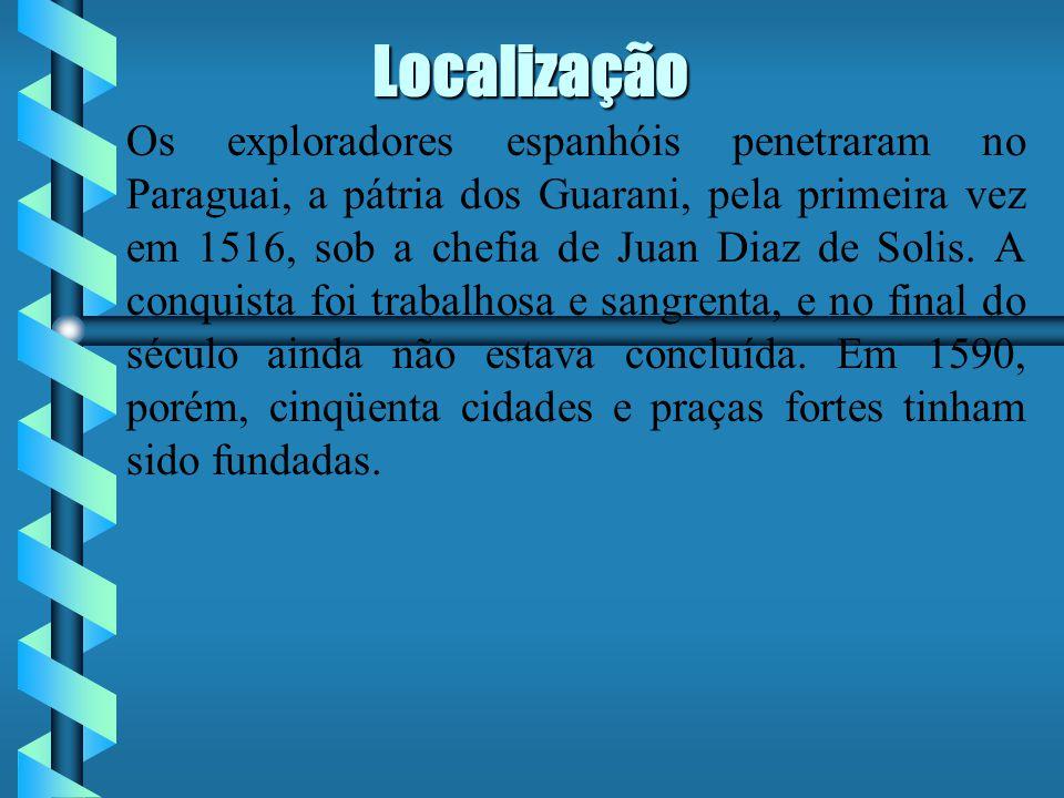 Localização É costume dizer-se, simplesmente, que ela ocupava o Paraguai, porque a palavra Paraguai designava no século XVI toda a bacia dos três grandes rios que convergem para o Prata, até ao Andes, do Chile ao Peru, bastante para o interior da Bolívia, do Brasil e do Uruguai, e mesmo dos Pampas ao Sul de Buenos Aires.