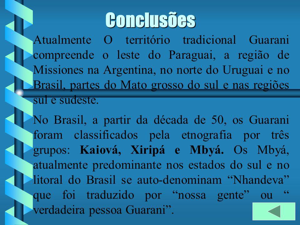 Conclusões Atualmente O território tradicional Guarani compreende o leste do Paraguai, a região de Missiones na Argentina, no norte do Uruguai e no Brasil, partes do Mato grosso do sul e nas regiões sul e sudeste.