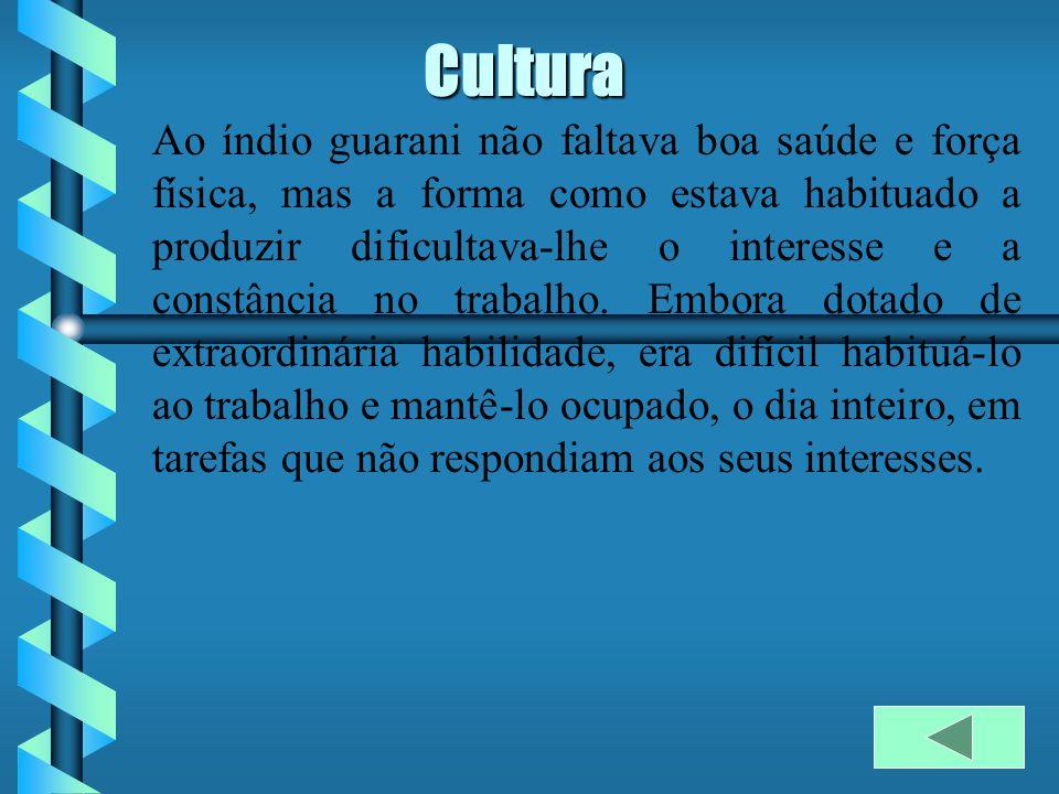 Cultura Ao índio guarani não faltava boa saúde e força física, mas a forma como estava habituado a produzir dificultava-lhe o interesse e a constância no trabalho.