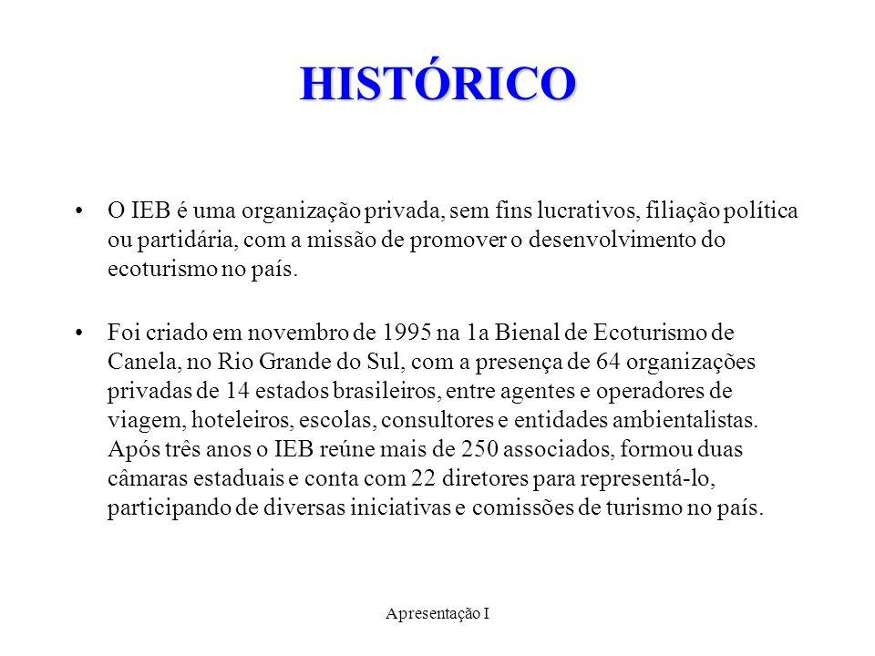 HISTÓRICO O IEB é uma organização privada, sem fins lucrativos, filiação política ou partidária, com a missão de promover o desenvolvimento do ecoturismo no país.