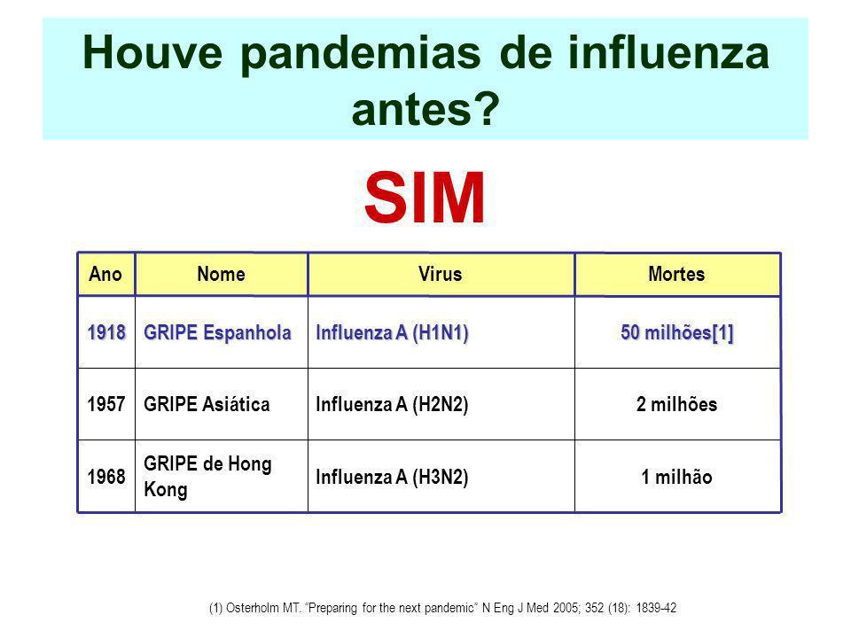 Houve pandemias de influenza antes? SIM AnoNomeVirusMortes1918 GRIPE Espanhola Influenza A (H1N1) Influenza A (H1N1) 50 milhões[1] 1957GRIPE AsiáticaI