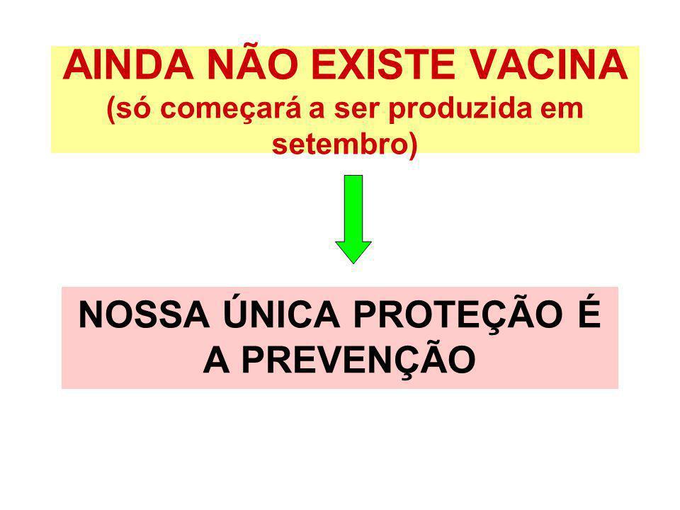 AINDA NÃO EXISTE VACINA (só começará a ser produzida em setembro) NOSSA ÚNICA PROTEÇÃO É A PREVENÇÃO
