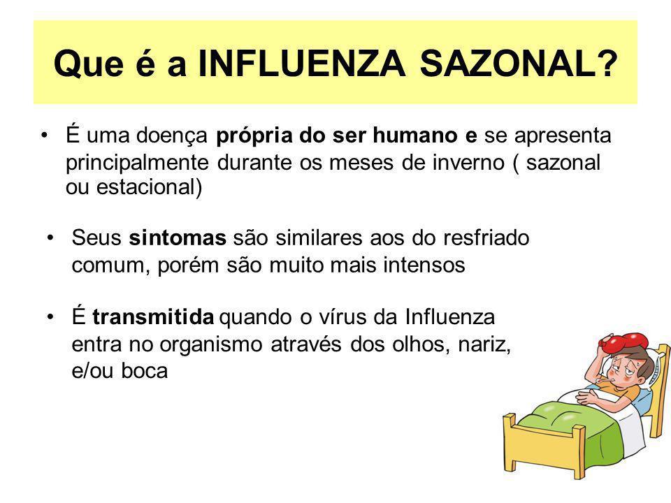 Que é a INFLUENZA SAZONAL? É uma doença própria do ser humano e se apresenta principalmente durante os meses de inverno ( sazonal ou estacional) É tra