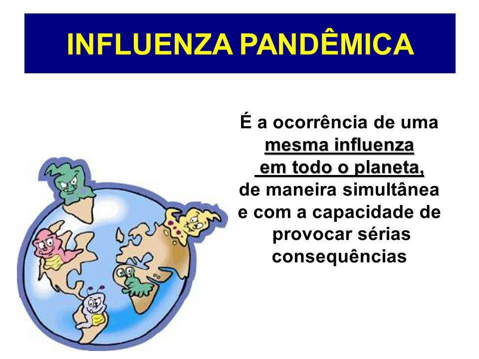 INFLUENZA PANDÊMICA É a ocorrência de uma mesma influenza em todo o planeta, em todo o planeta, de maneira simultânea e com a capacidade de provocar s
