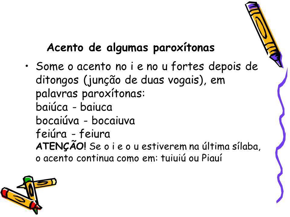 Acento de algumas paroxítonas Some o acento no i e no u fortes depois de ditongos (junção de duas vogais), em palavras paroxítonas: baiúca - baiuca bo