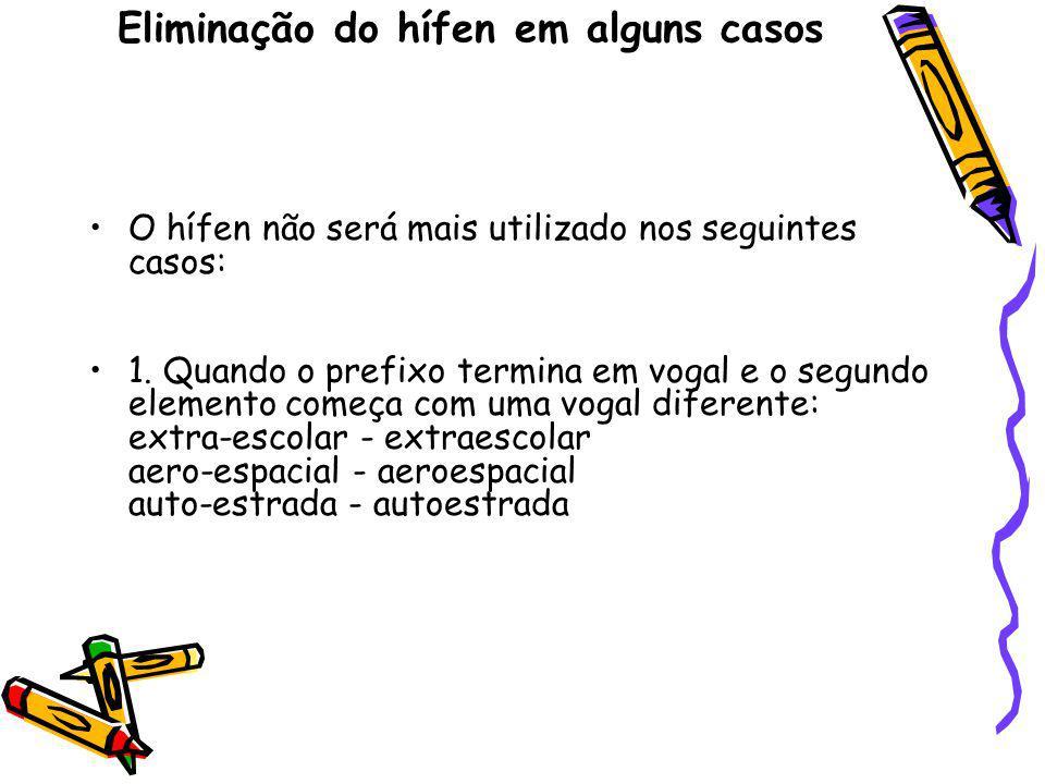 Eliminação do hífen em alguns casos O hífen não será mais utilizado nos seguintes casos: 1. Quando o prefixo termina em vogal e o segundo elemento com