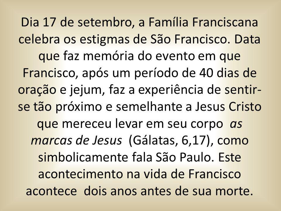 Dia 17 de setembro, a Família Franciscana celebra os estigmas de São Francisco. Data que faz memória do evento em que Francisco, após um período de 40