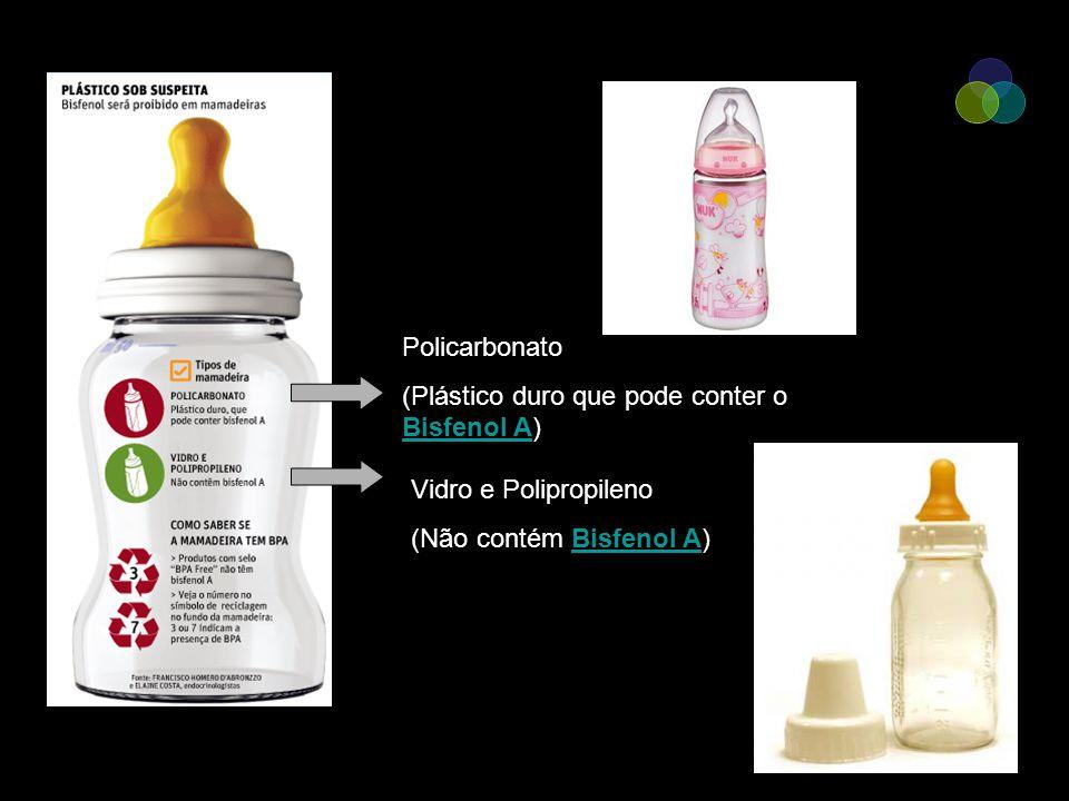 Policarbonato (Plástico duro que pode conter o Bisfenol A) Vidro e Polipropileno (Não contém Bisfenol A)