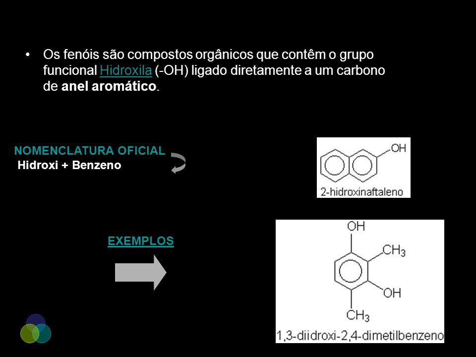 Os fenóis são compostos orgânicos que contêm o grupo funcional Hidroxila (-OH) ligado diretamente a um carbono de anel aromático.Hidroxila NOMENCLATUR