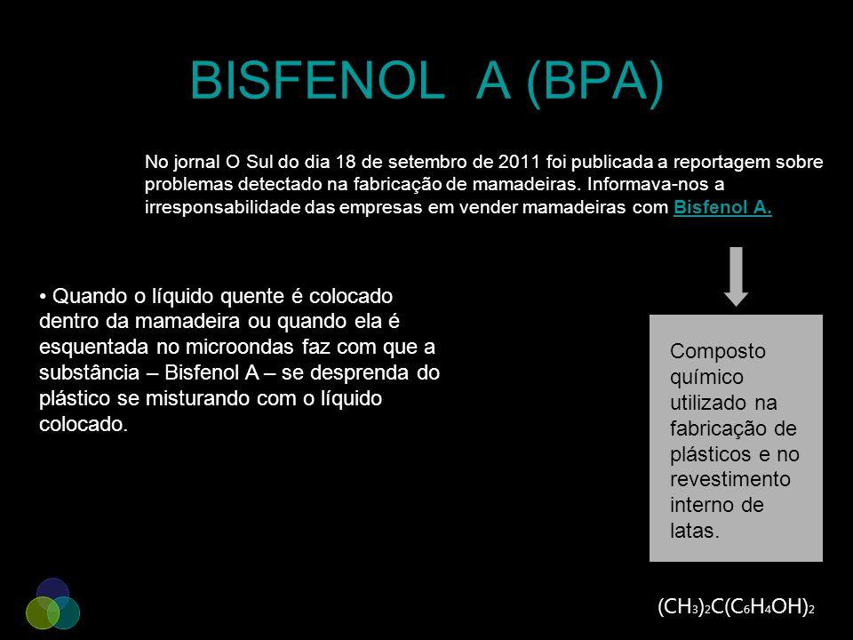 BISFENOL A (BPA) No jornal O Sul do dia 18 de setembro de 2011 foi publicada a reportagem sobre problemas detectado na fabricação de mamadeiras. Infor